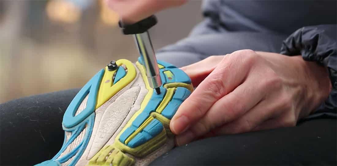 pigg skoene selv, skru piggene i sålen