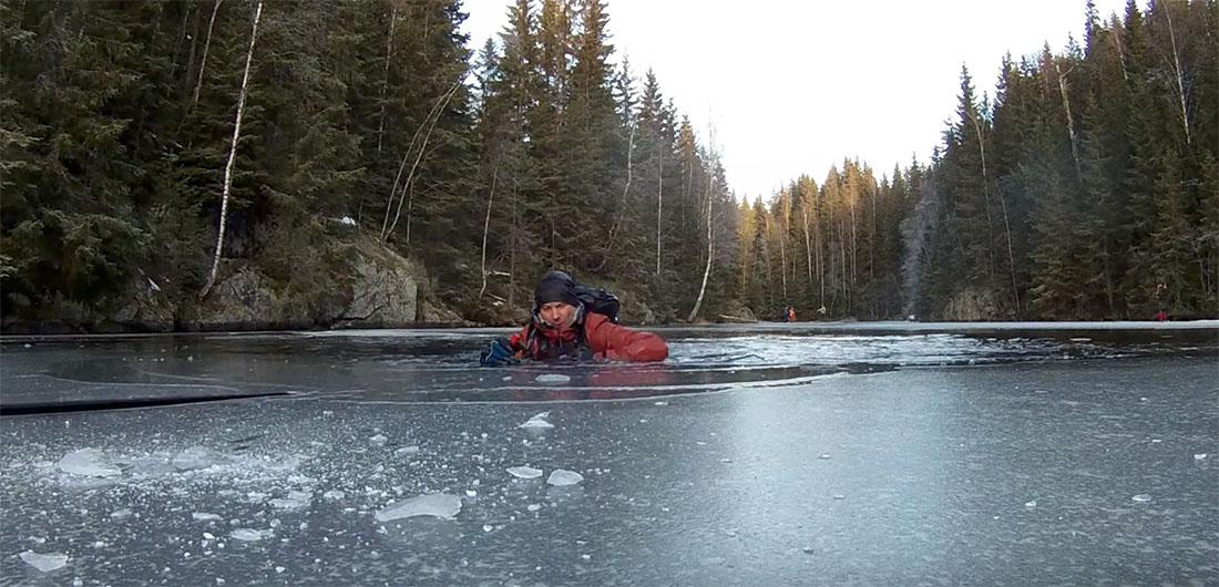 usikker is, å gå gjennom isen, ispigger, livline