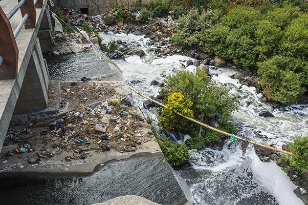 bli miljøvennlig, bilde av førsøplet elv.